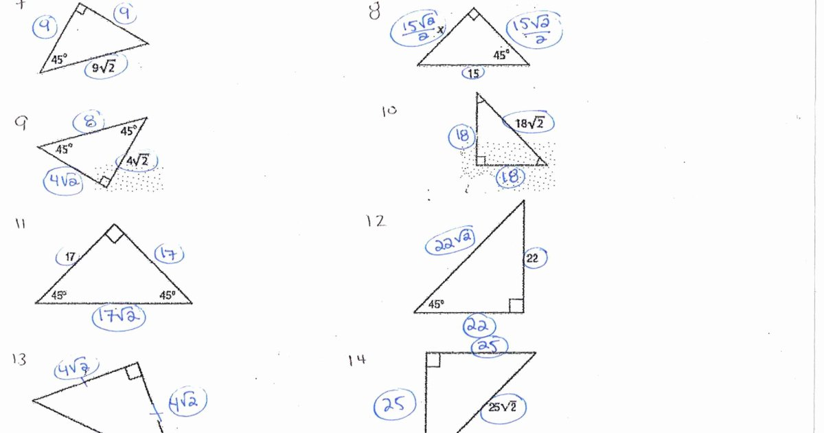 Special Right Triangles Worksheet Fresh Special Triangles Worksheet