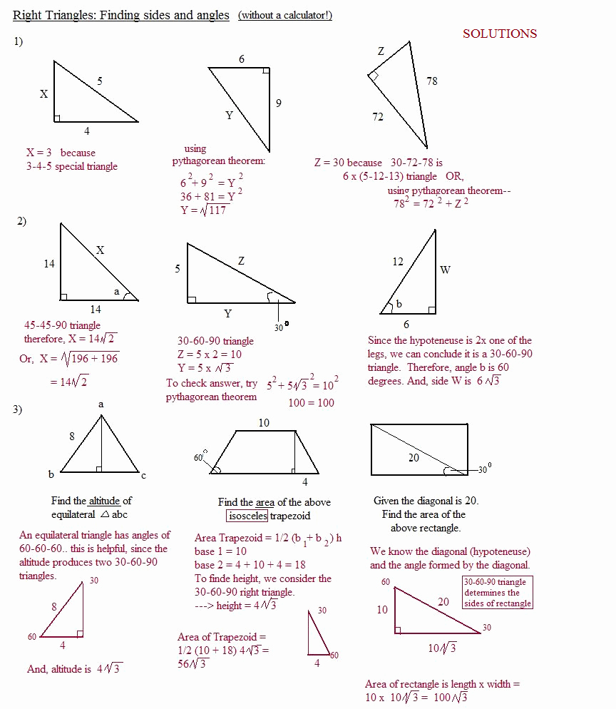 Special Right Triangles Worksheet Inspirational Math Plane Right Triangle Review