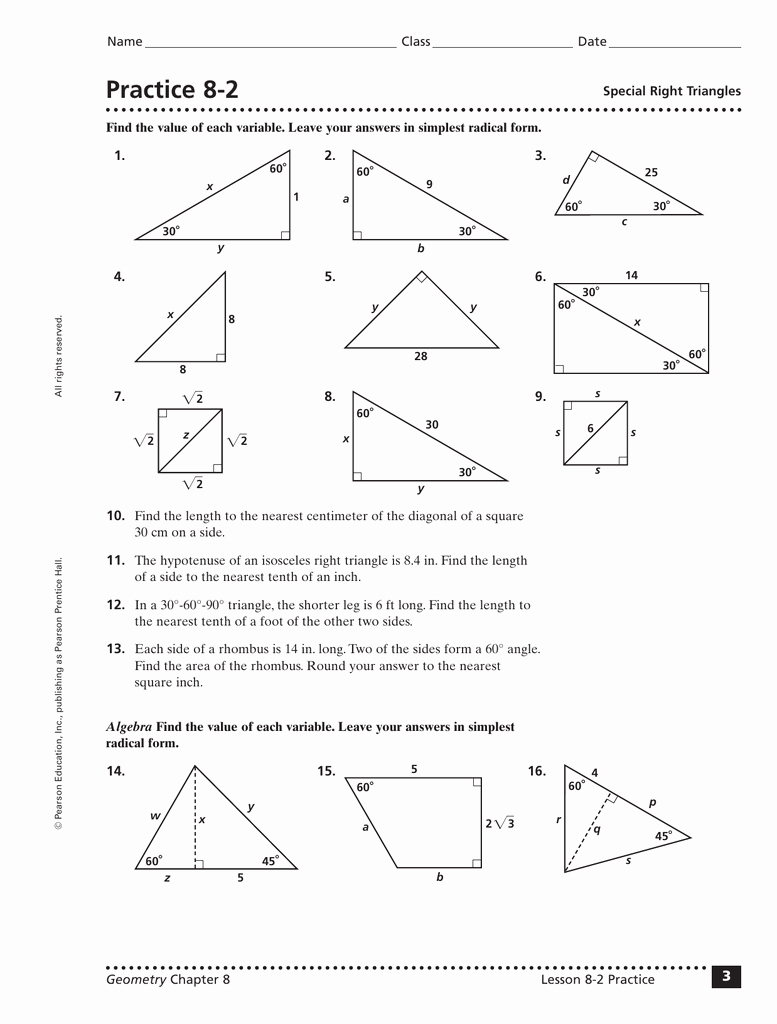 Special Right Triangles Worksheet Inspirational Special Right Triangles Worksheet Answers Chapter 8