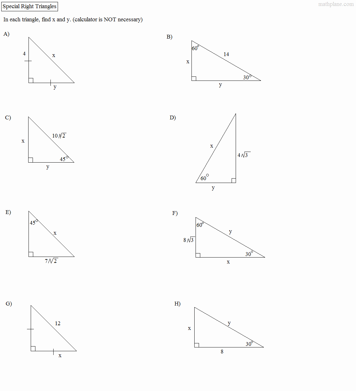 Special Right Triangles Worksheet Lovely Math Plane Right Triangle Review