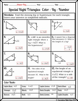 Special Right Triangles Worksheet Lovely Right Triangles Special 45 45 90 & 30 60 90 Wintery