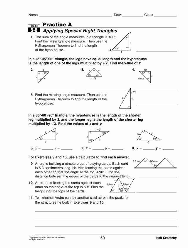 Special Right Triangles Worksheet Lovely Special Right Triangles Worksheet