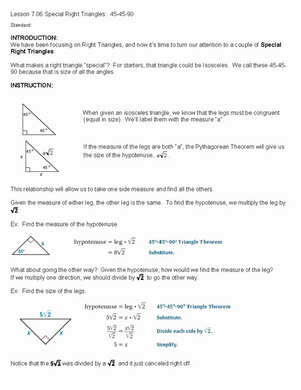 Special Right Triangles Worksheet Luxury Cosgeometry Lesson 7 06 Special Right Triangles 45 45 90