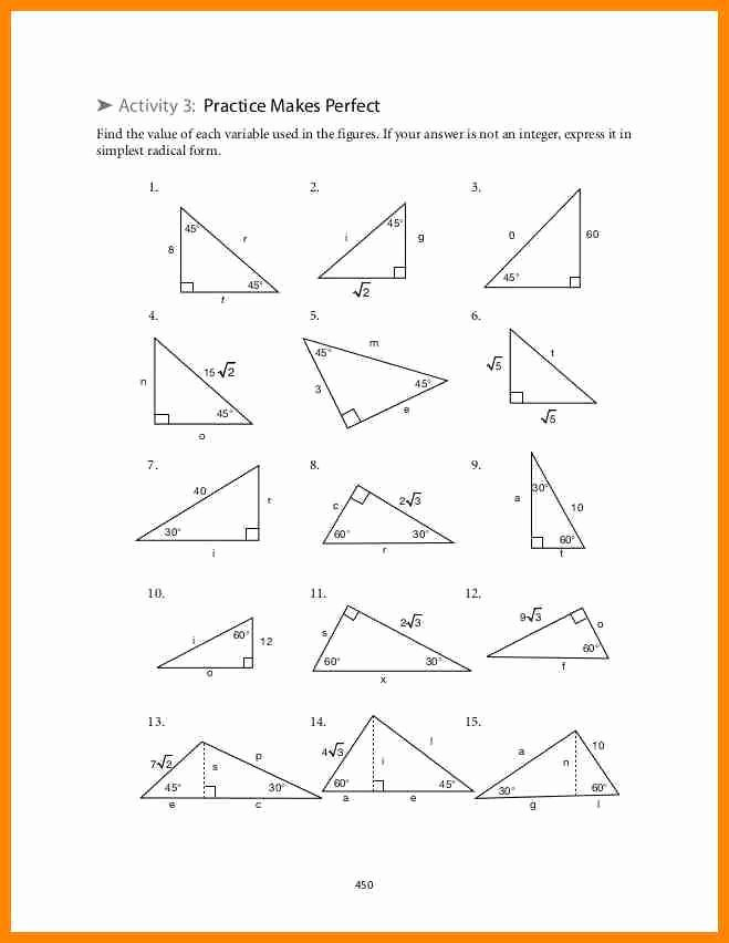 Special Right Triangles Worksheet Luxury Special Right Triangles Worksheet