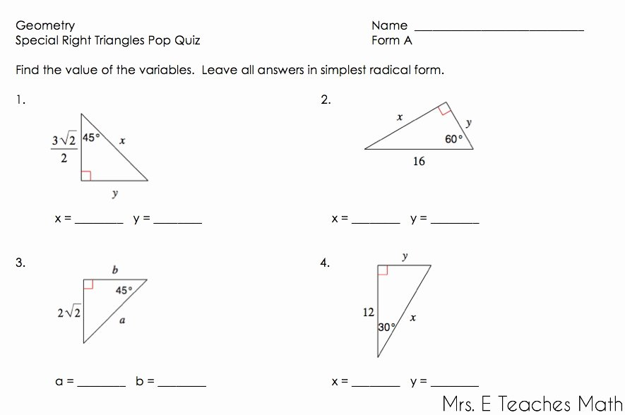 Special Right Triangles Worksheet New Right Triangles Unit