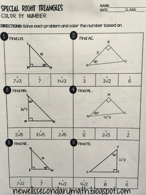Special Right Triangles Worksheet New Special Right Triangles Color by Number