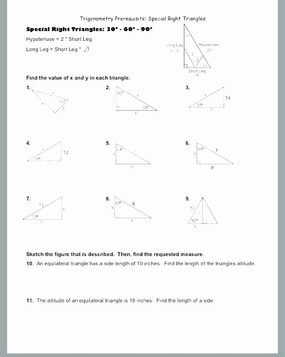 Special Right Triangles Worksheet New Triangle Worksheet – Uasporting