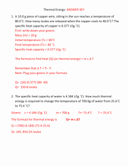 Specific Heat Worksheet Answer Key Elegant Specific Heat Worksheet 2