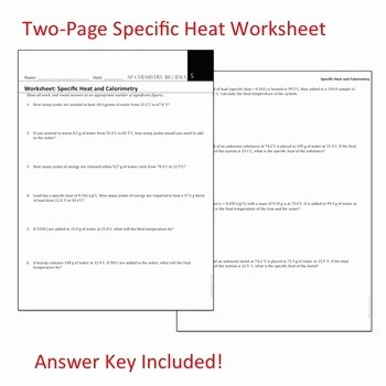Specific Heat Worksheet Answer Key Fresh Ap Chemistry Big Idea 5 Worksheet Specific Heat and