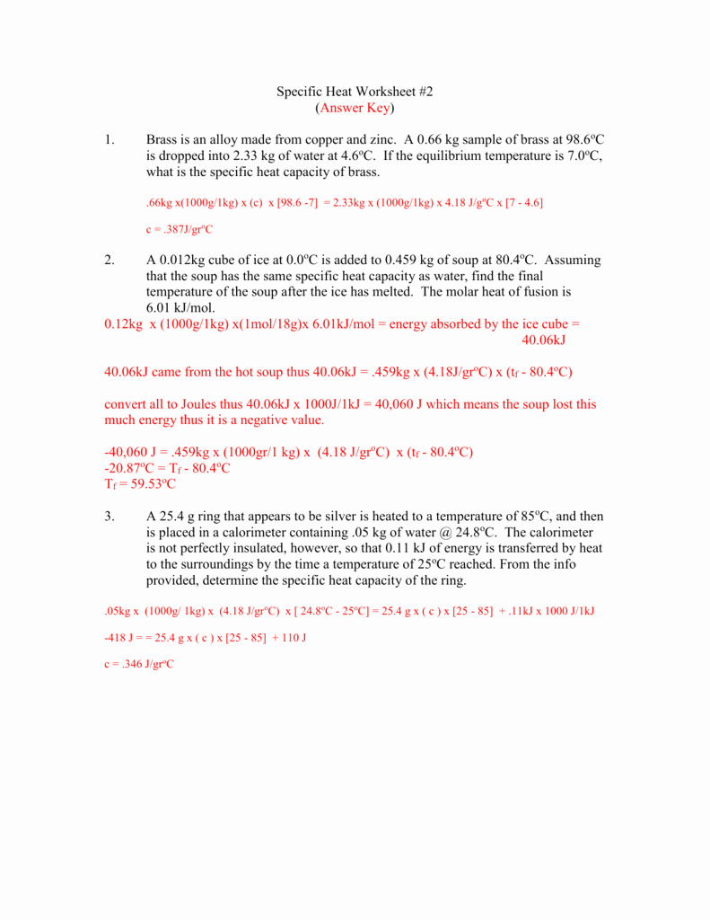 Specific Heat Worksheet Answer Key Fresh Specific Heat Worksheet 2