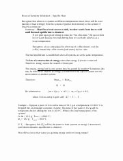 Specific Heat Worksheet Answer Key Fresh Specific Heat Worksheet 2answer Key Specific Heat