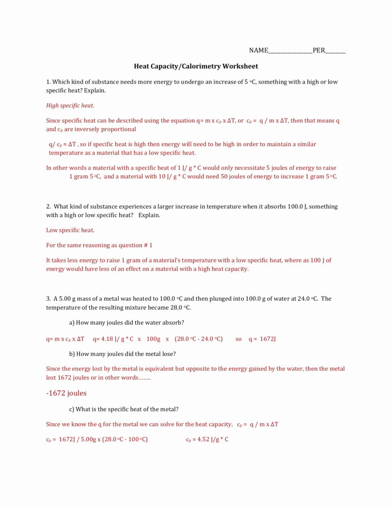 Specific Heat Worksheet Answer Key Inspirational Specific Heat Worksheet Answer Key