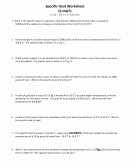 Specific Heat Worksheet Answer Key Lovely Specific Heat Worksheet