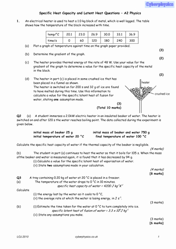 Specific Heat Worksheet Answer Key Unique Specific Heat Capacity Worksheet with Answers by