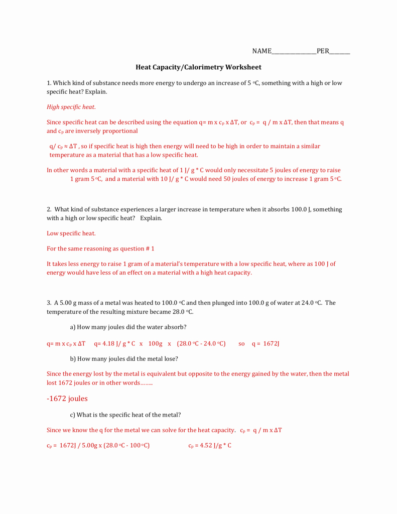 Specific Heat Worksheet Answers Awesome Worksheet Specific Heat Worksheet Grass Fedjp Worksheet