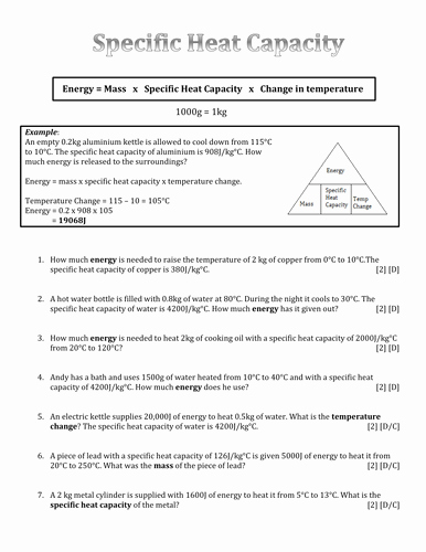 Specific Heat Worksheet Answers Beautiful Differentiated Specific Heat Capacity Calculation