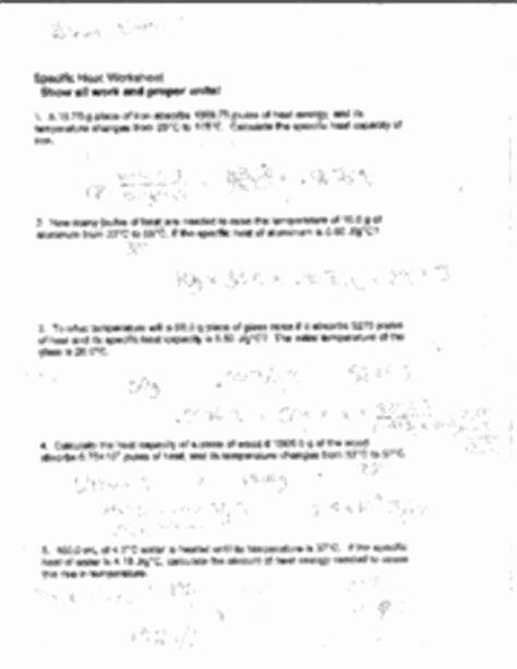 Specific Heat Worksheet Answers Luxury Specific Heat Worksheet