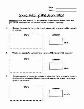 Speed and Velocity Worksheet Answers Awesome Speed Velocity and Acceleration Engaging Cut and Glue