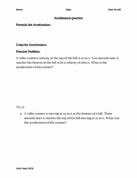 Speed and Velocity Worksheet Answers Beautiful Speed Velocity and Acceleration Calculations Worksheet