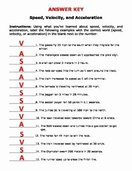 Speed and Velocity Worksheet Answers Elegant Speed Velocity and Acceleration by Jodi S Jewels