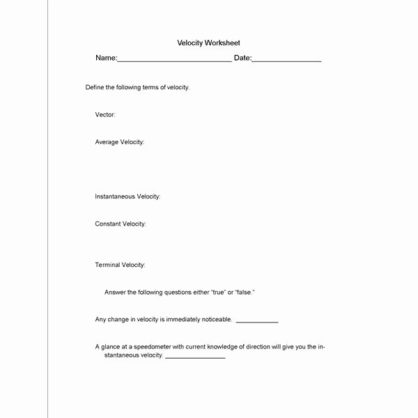 Speed and Velocity Worksheet Answers Inspirational What is Velocity All is Revealed In This Science Lesson Plan