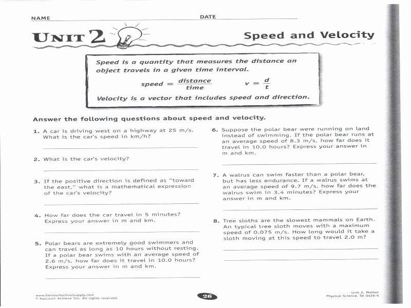 Speed and Velocity Worksheet Answers Luxury Speed Velocity and Acceleration Worksheet Answers Free