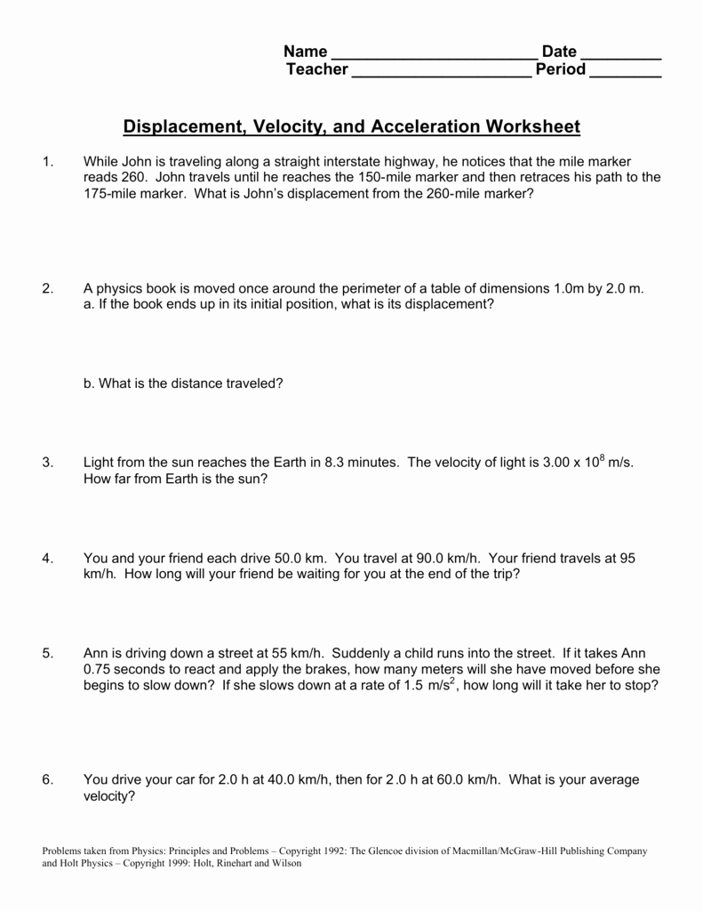 Speed and Velocity Worksheet Answers Unique Worksheet Velocity Worksheet Grass Fedjp Worksheet Study