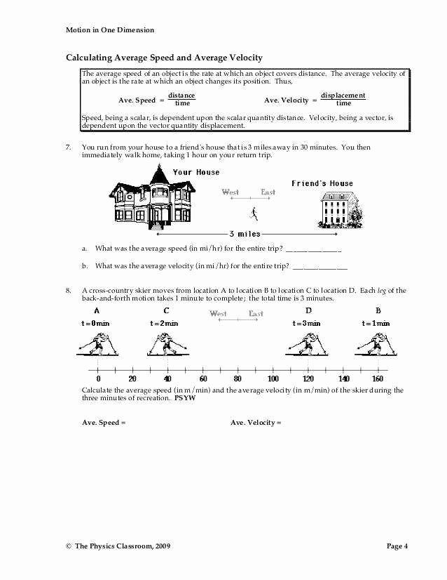 Speed and Velocity Worksheet Luxury Speed and Velocity Worksheet