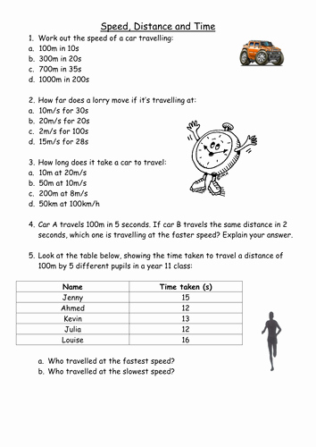 Speed Practice Problems Worksheet Awesome Speed Distance and Time Calculations by Pinkhelen
