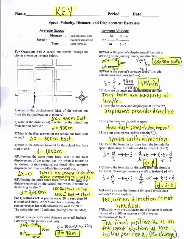 Speed Practice Problems Worksheet Best Of Key Speed Velocity Distance and Displacement Exercises