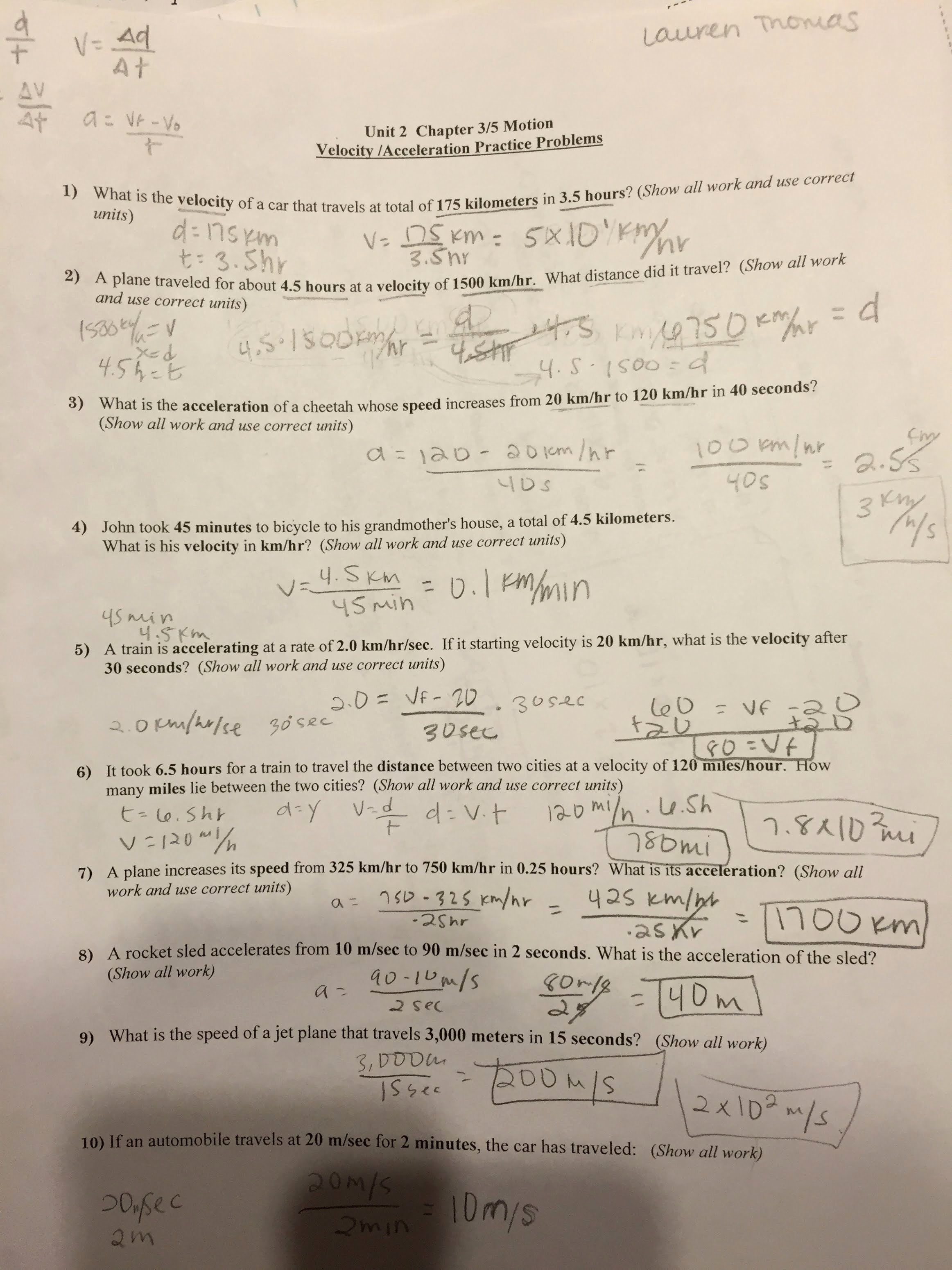 Speed Practice Problems Worksheet Fresh Unit 2 Motion Speed and Acceleration Lauren Thomas 4a