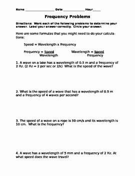 Speed Practice Problems Worksheet Inspirational Frequency Problems My Science Creations