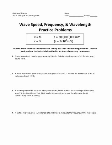 Speed Practice Problems Worksheet Inspirational Ps 7 4 Wave Speed Practice Problems Science Spectrum