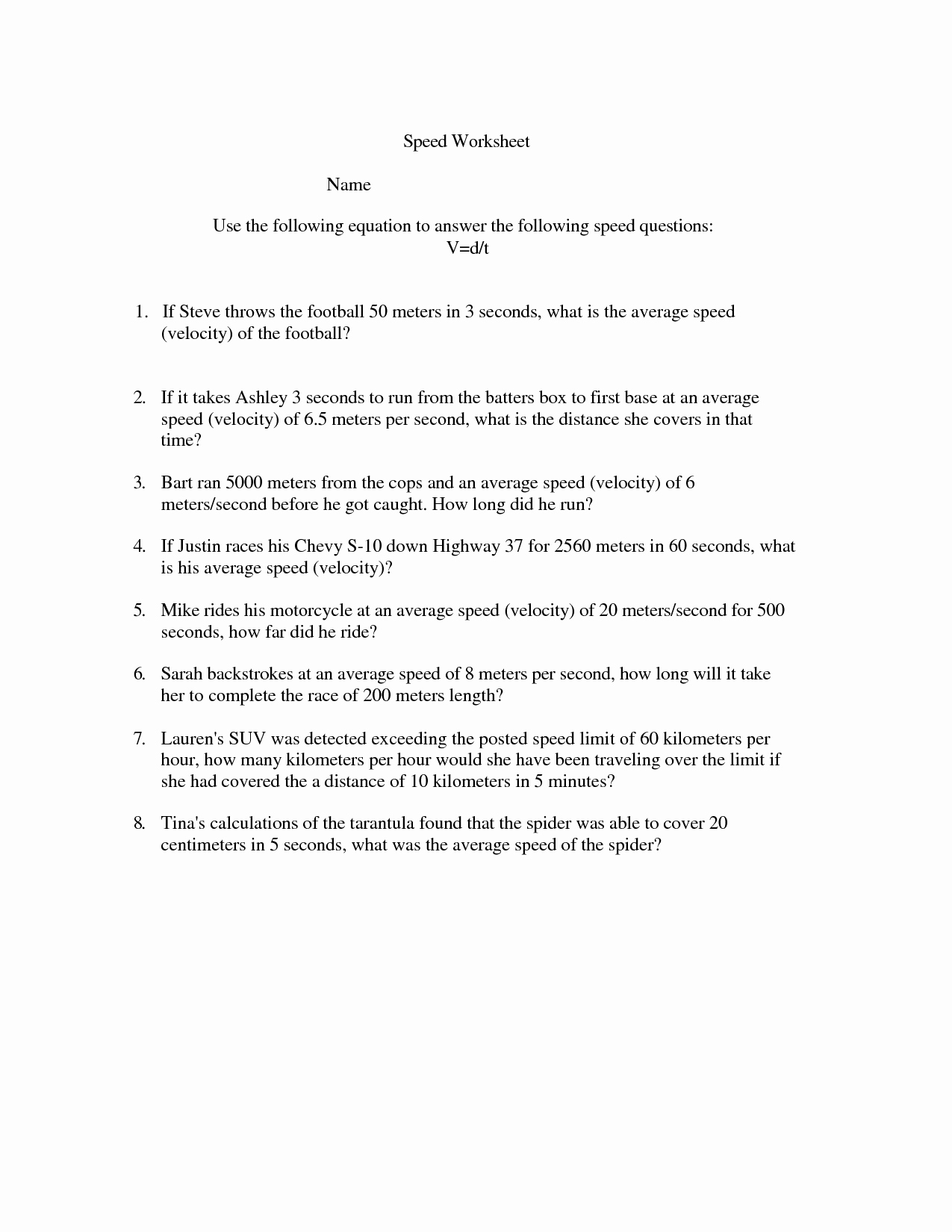 Speed Practice Problems Worksheet New Calculating Speed Problems Worksheet