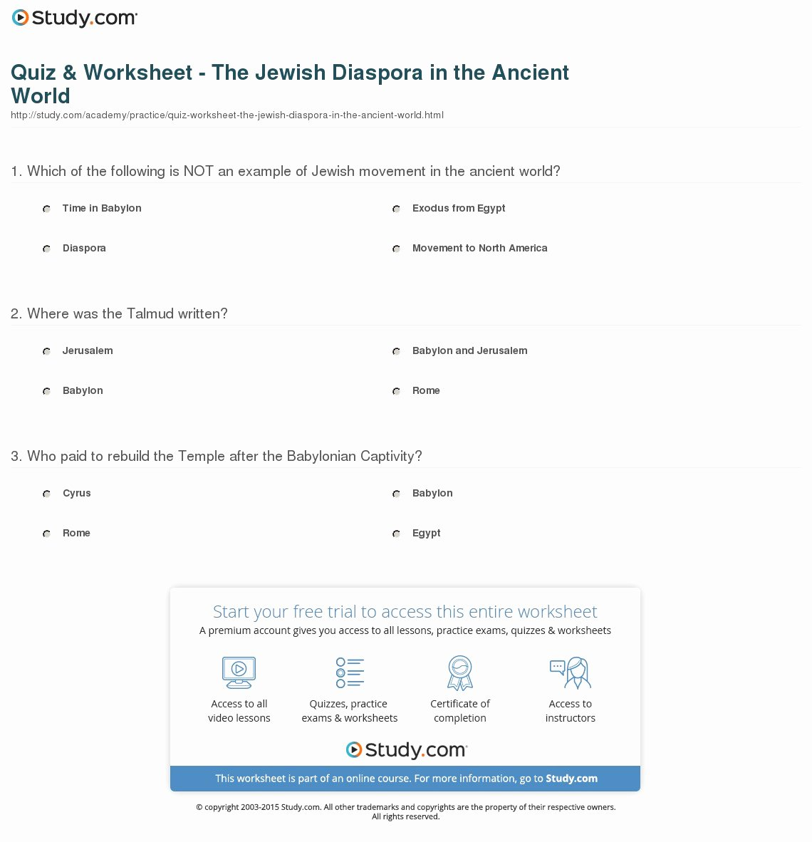 Speed Practice Problems Worksheet New Quiz & Worksheet the Jewish Diaspora In the Ancient