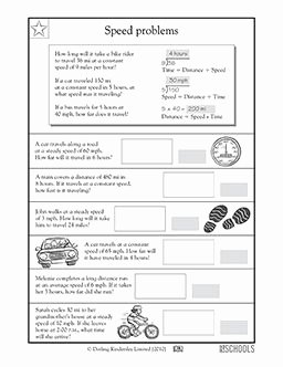 Speed Problem Worksheet Answers Unique 4th Grade Math Worksheets Calculating Speed