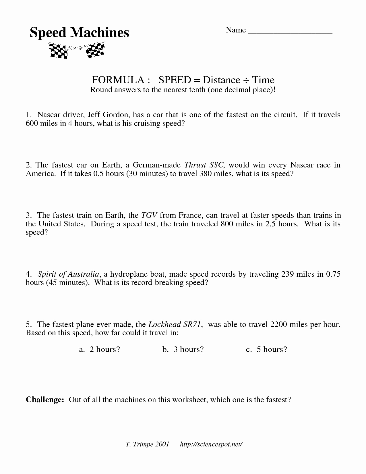 Speed Time and Distance Worksheet Best Of 17 Best Of Speed formula Worksheet Speed and