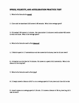 Speed Time and Distance Worksheet Elegant Speed Velocity Acceleration Practice Test with Answer