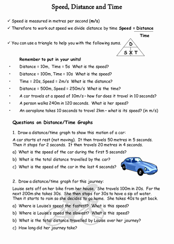 Speed Time and Distance Worksheet Fresh Speed Distance and Time by Physics Teacher