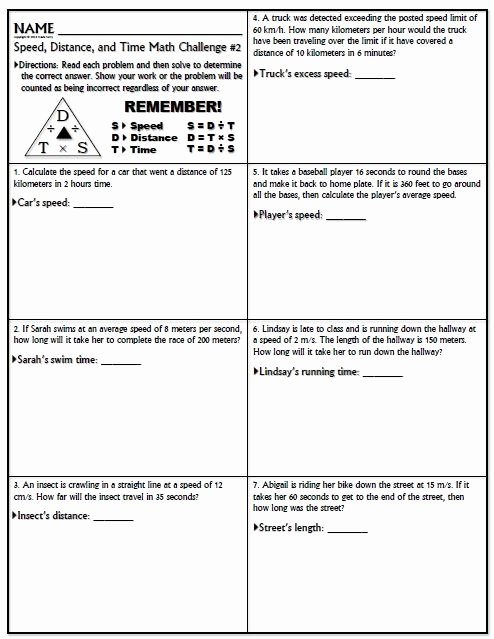 Speed Time and Distance Worksheet Inspirational Worksheet Speed Math Challenge Version 1