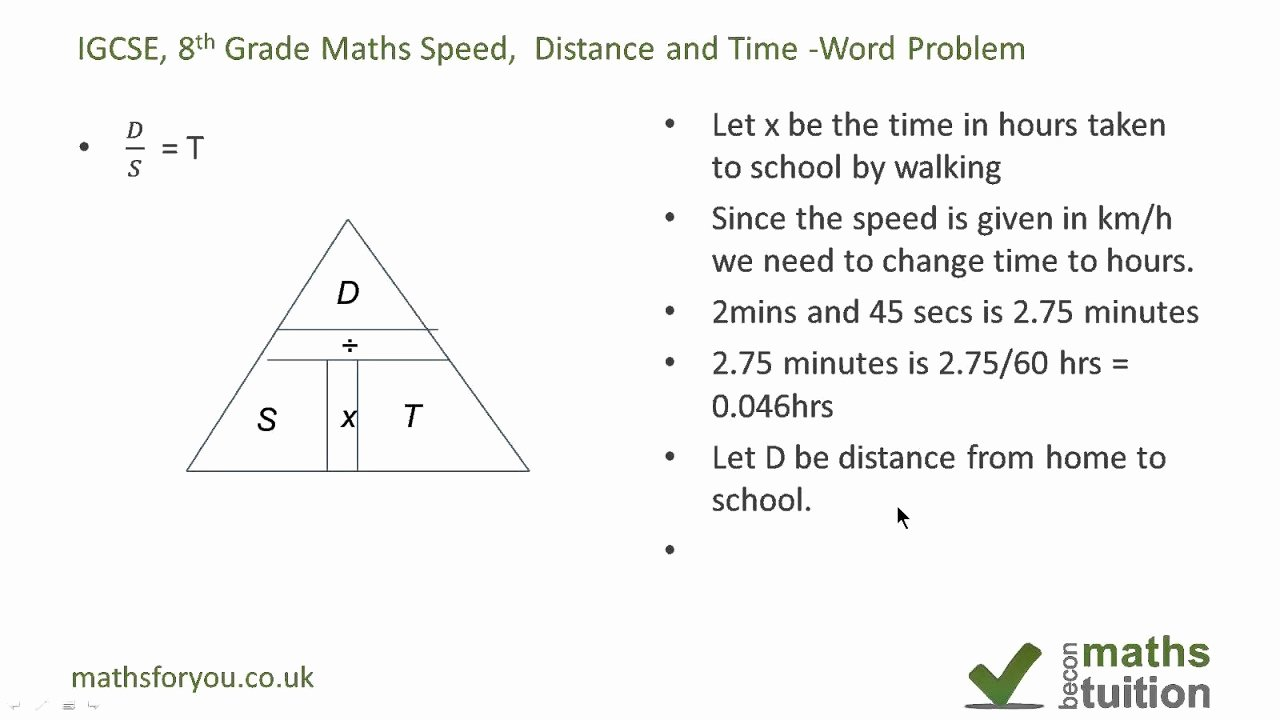 Speed Time and Distance Worksheet Luxury Distance Speed and Time Word Problem Igcse Gcse 8th