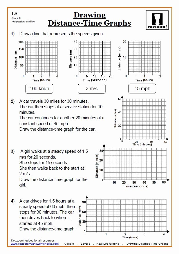 Speed Time and Distance Worksheet New Real Life Graphs Worksheets