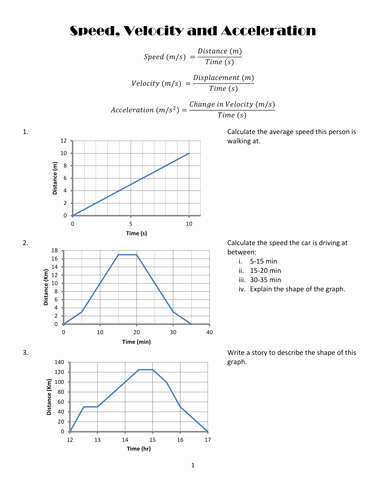 Speed Velocity and Acceleration Worksheet Awesome Speed Velocity and Acceleration Graph Practise by