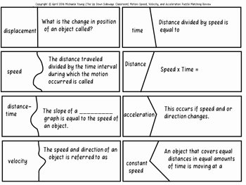 Speed Velocity and Acceleration Worksheet Beautiful Speed Velocity and Acceleration Puzzle Matching Review