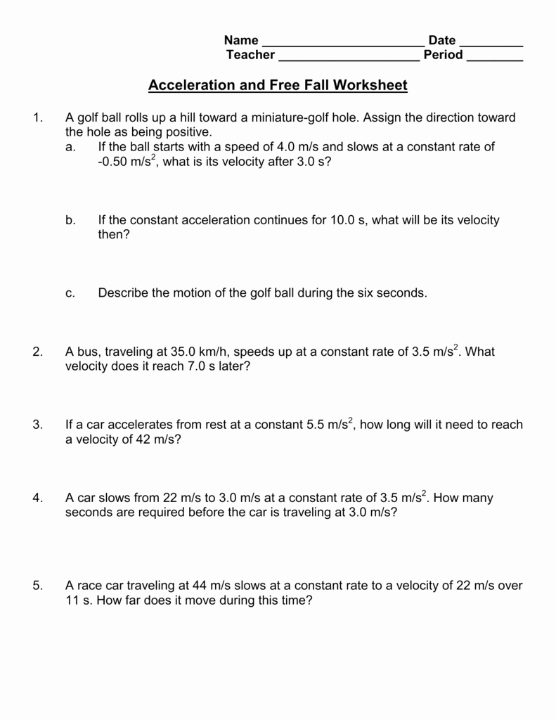 Speed Velocity and Acceleration Worksheet Inspirational Acceleration and Free Fall Worksheet
