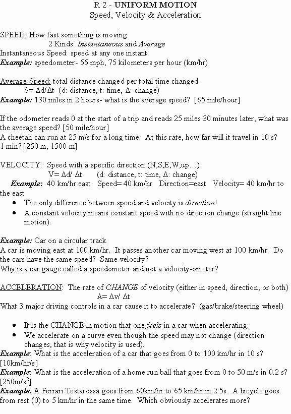 Speed Velocity and Acceleration Worksheet Lovely Velocity Worksheet