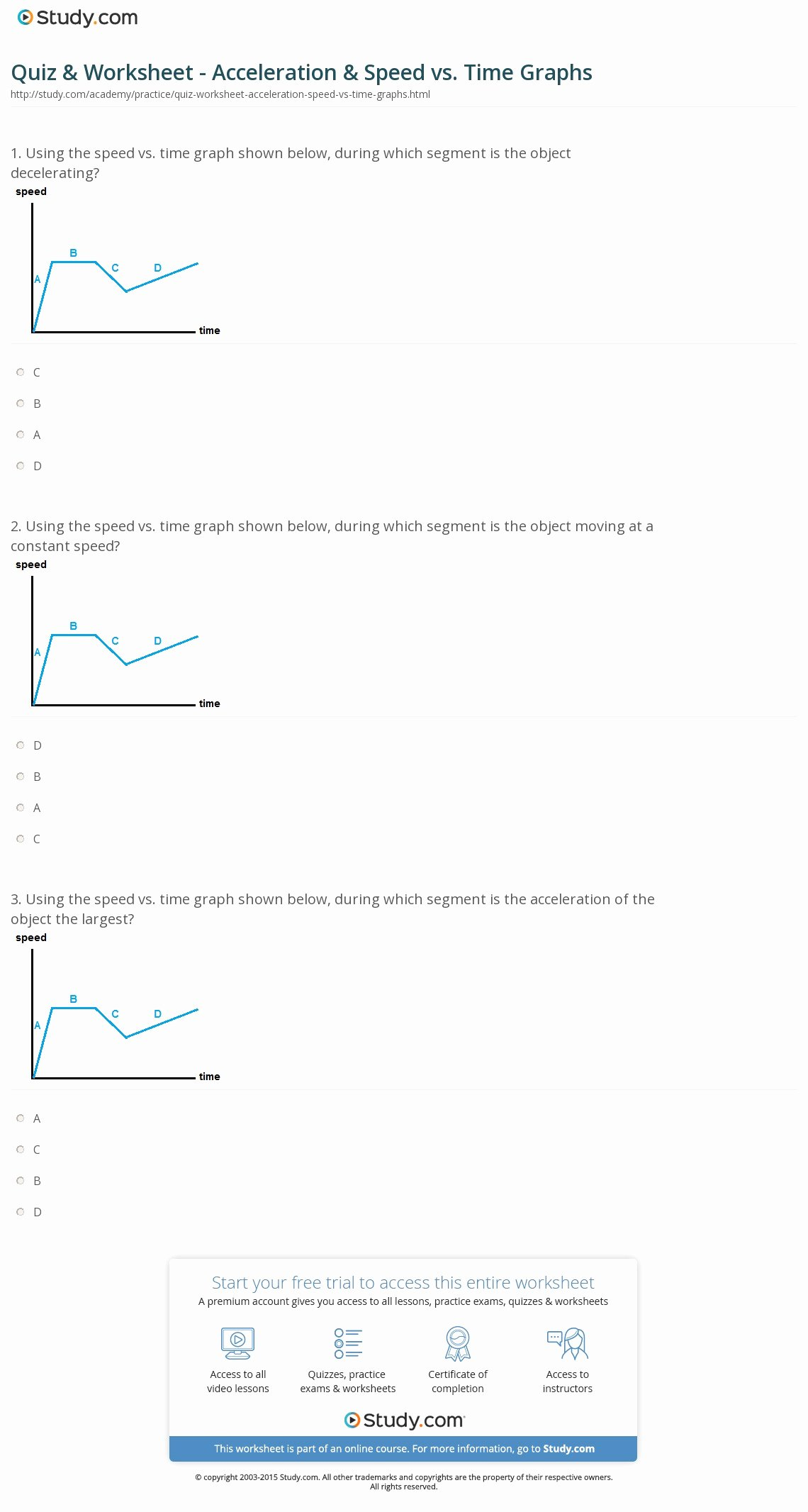 Speed Vs Time Graph Worksheet Fresh Quiz & Worksheet Acceleration & Speed Vs Time Graphs