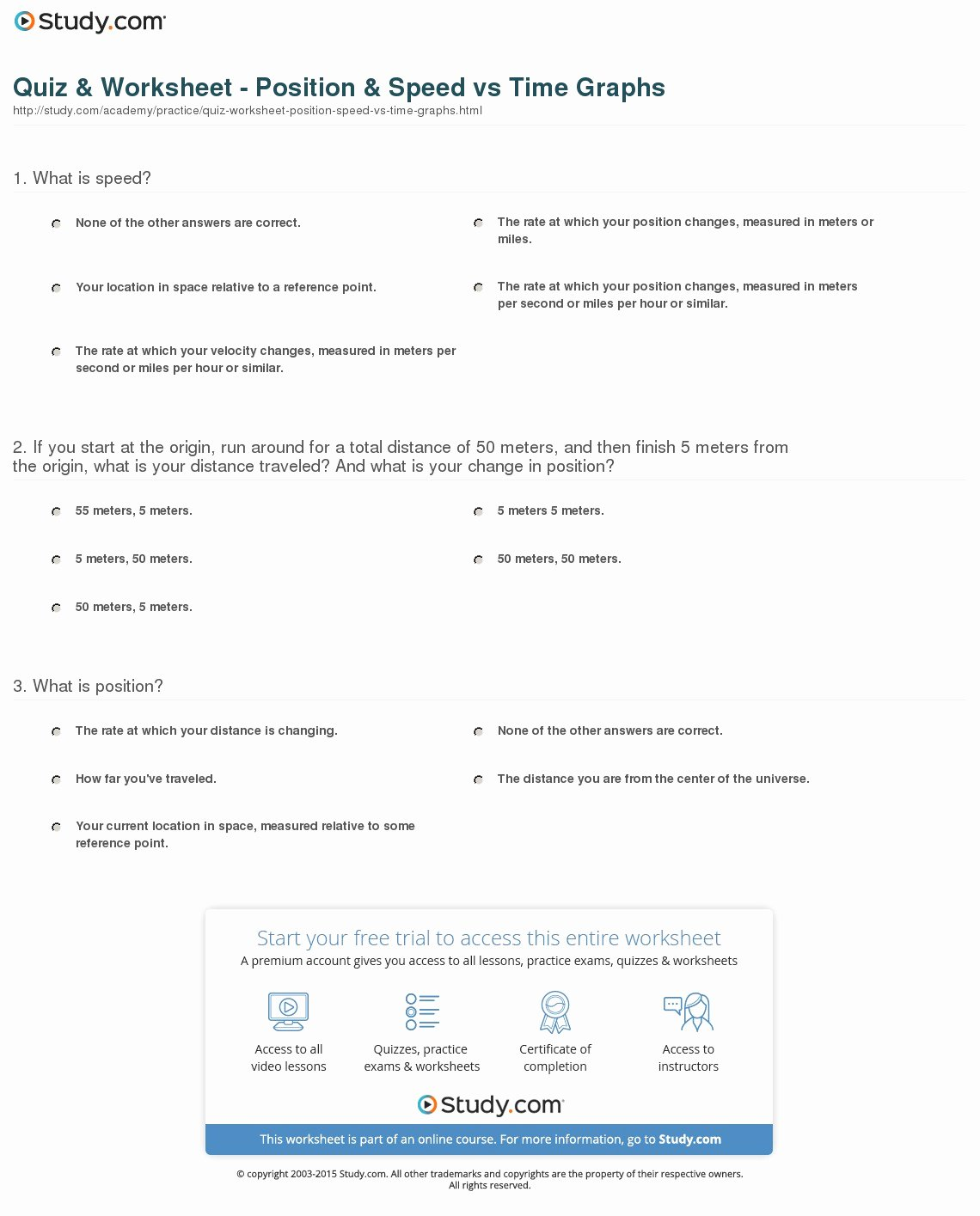 Speed Vs Time Graph Worksheet Fresh Quiz & Worksheet Position & Speed Vs Time Graphs