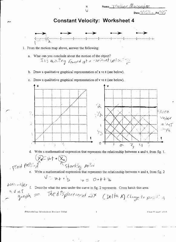 Speed Vs Time Graph Worksheet New Physics Heather Ma Ber S Dp