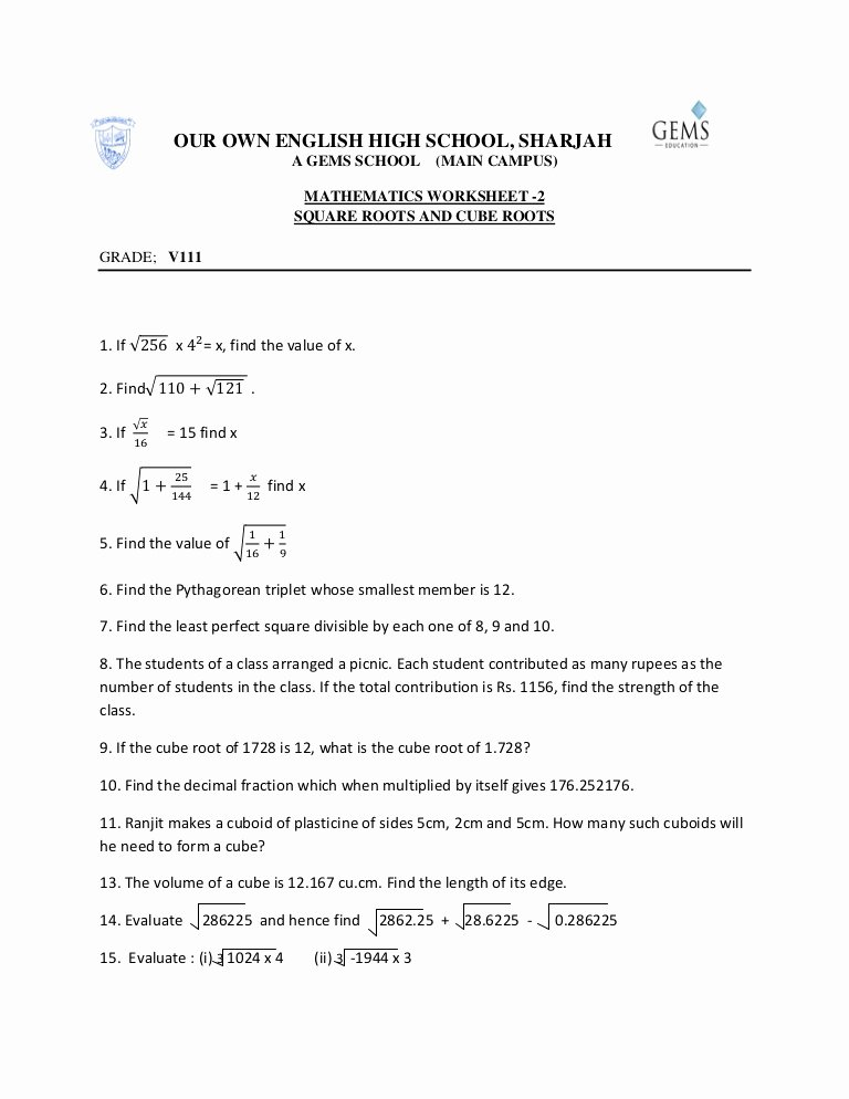 Square and Cube Roots Worksheet Awesome Square Roots and Cube Roots Worksheet